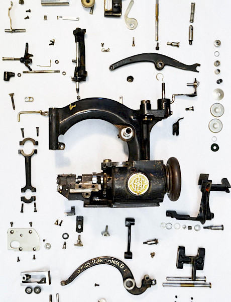 Milliner strawhat sewing machine deconstructed