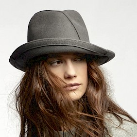 Damenhut Winter grau Filzhut Damen Hut Fedora