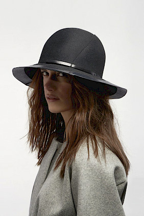 broadbrimmed black felt hat women