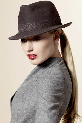 trilby hat grey felt women winter