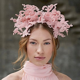 Fascinator hat pink lace wedding races Ascot