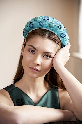turquoise hairband couture with crystals