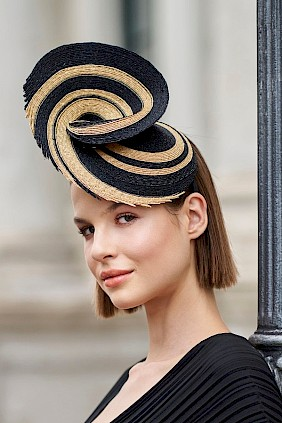 Couture fascinator hat made from milan-straw